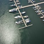 Arial view of boats docked in Gore Bay.