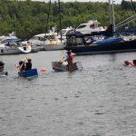 Cardboard boats racing in Gore Bay.