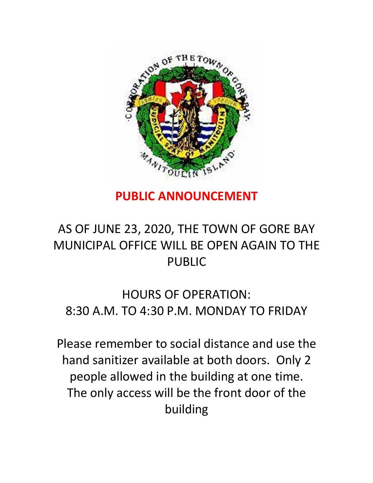 Municipal Office open as of June 23, 2020