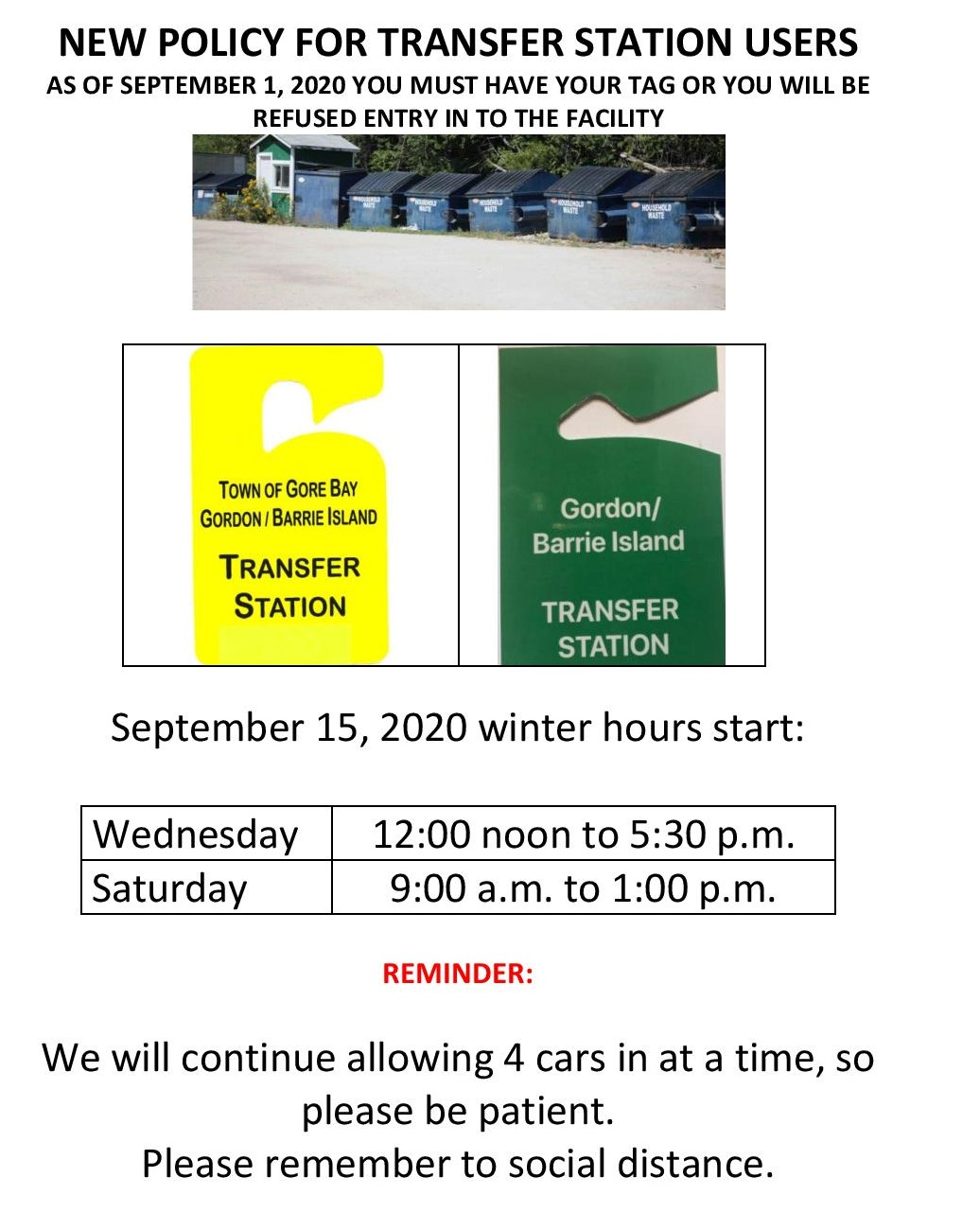 Transfer Station New Policy as of September 1, 2020