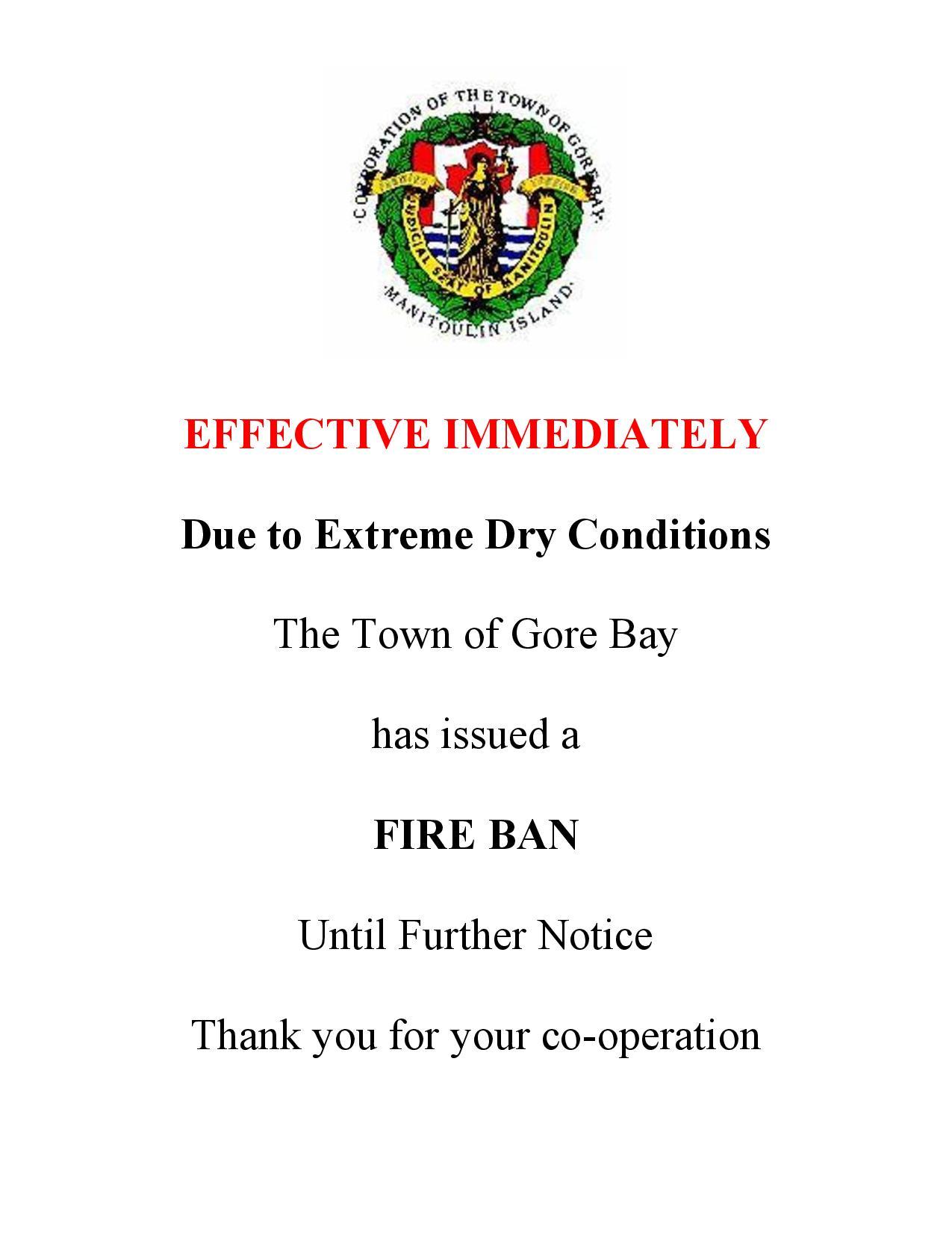 GORE BAY FIRE BAN