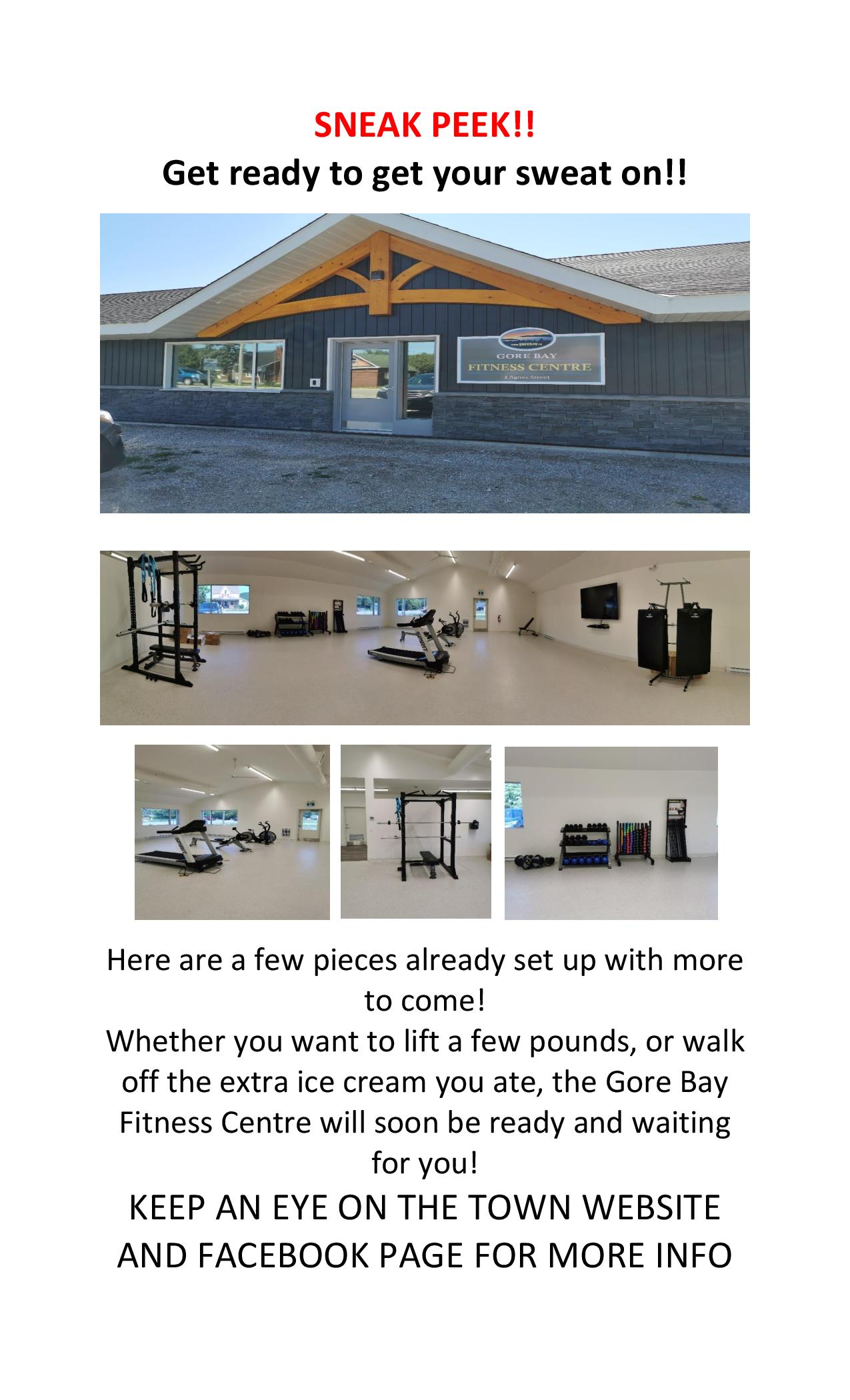 GORE BAY FITNESS CENTRE – SNEAK PEEK!!